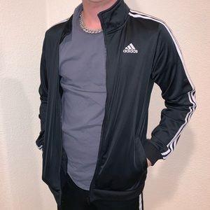 Black adidas zip up jacket w/ 3 white striped arms